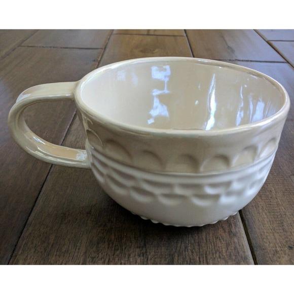 Mug Cup Shiny Beige Glazed Inside Polka Dots Rim